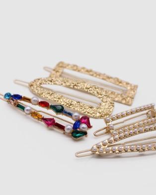 Morgan & Taylor Jordyn Hair Clip Set - Hair Accessories (Gold)