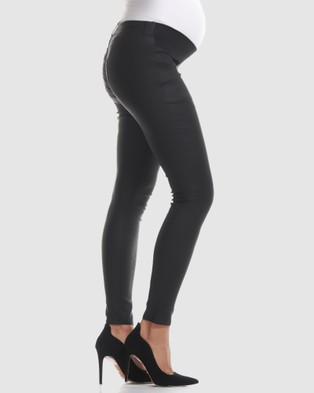 Soon Maternity Coated Underbelly Skinny Jeans - Jeans (BLACK)
