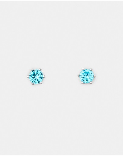Michael Hill Stud Earrings With Aqua Cubic Zirconia In Sterling Silver