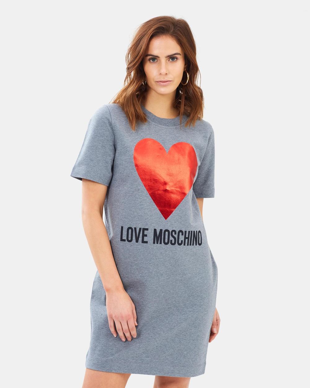 LOVE MOSCHINO Dark Grey Melange Metallic Heart Tee Dress