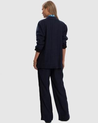 Aqua Blu Australia Serenity Relaxed Linen Pant - Swimwear (Navy)