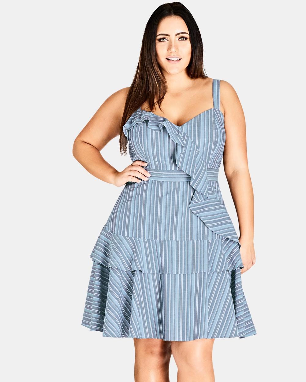 City Chic Summer Ruffle Dress Dresses Blue Summer Ruffle Dress