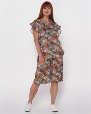 Lincoln St Frilled Sleeve Top - Tops (Wild Garden)