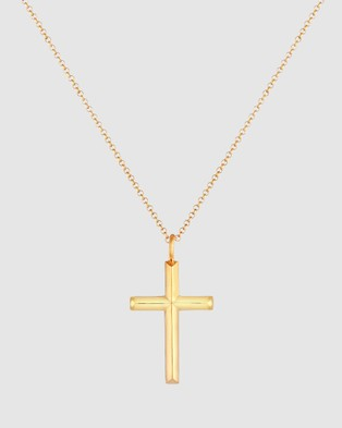 Kuzzoi Necklace Pea Chain Cross Oxidised Solid in 925 Sterling Silver Gold Plated - Jewellery (Gold)