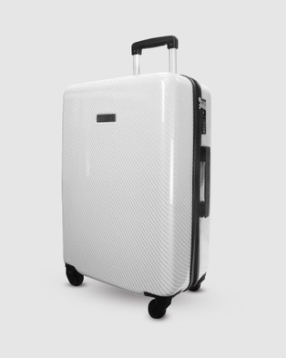 JETT BLACK Carbon White Series Medium Suitcase - Travel and Luggage (White)