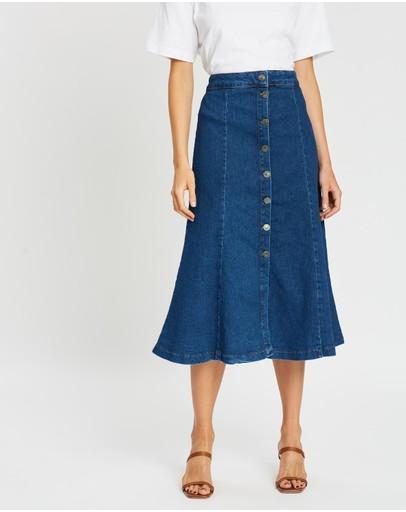 Whistles Denim Button Through Skirt