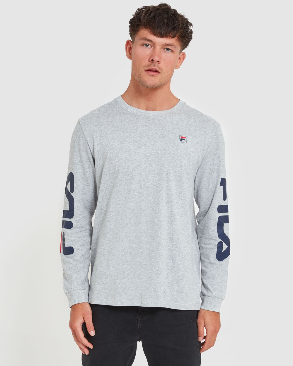 Fila - Classic Long Sleeve Tee - Long Sleeve T-Shirts (Silver Marle) Classic Long Sleeve Tee
