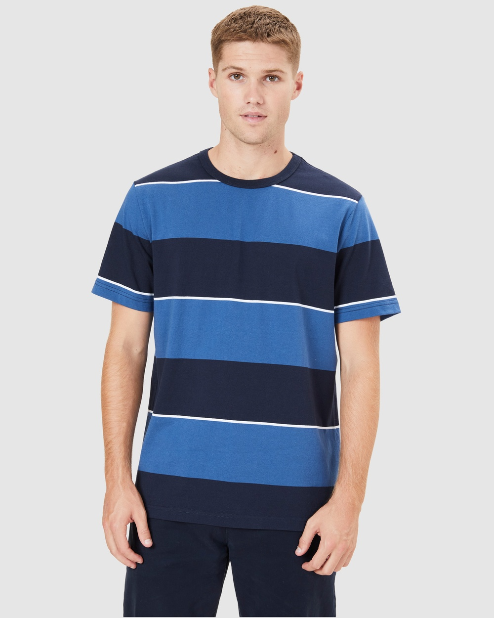 French Connection - Block Stripe T Shirt - T-Shirts & Singlets (VINTAGE BLUE/NAVY) Block Stripe T Shirt