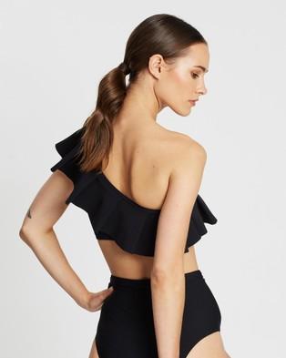 BONDI BORN Audrey One Shoulder Bikini Top - Bikini Tops (Black)
