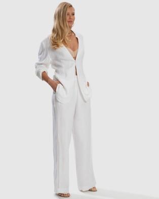 Aqua Blu Australia Serenity Relaxed Linen Pant - Swimwear (White)