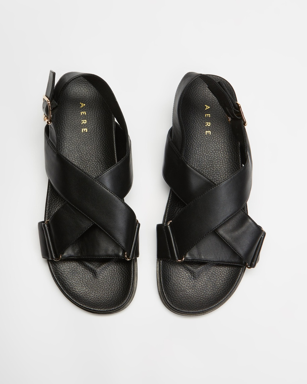 AERE Crossover Leather Footbed Sandals Shoes Black Leather