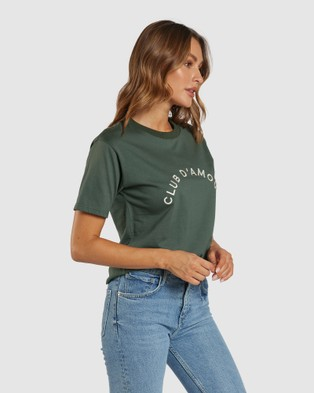 Apero Label - Club D'Amour Embroidered Tee Short Sleeve T-Shirts (Green)
