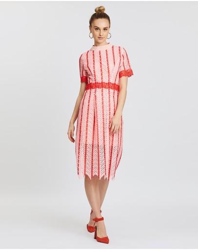 Mossée Laila Colour Block Lace Dress Pink