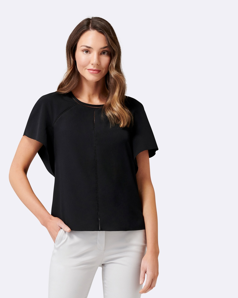 Forever New Fifi Trim Top Tops Black Fifi Trim Top
