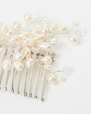 Ivory Knot Benita Hair Comb - Fascinators (Pearl & Silver)