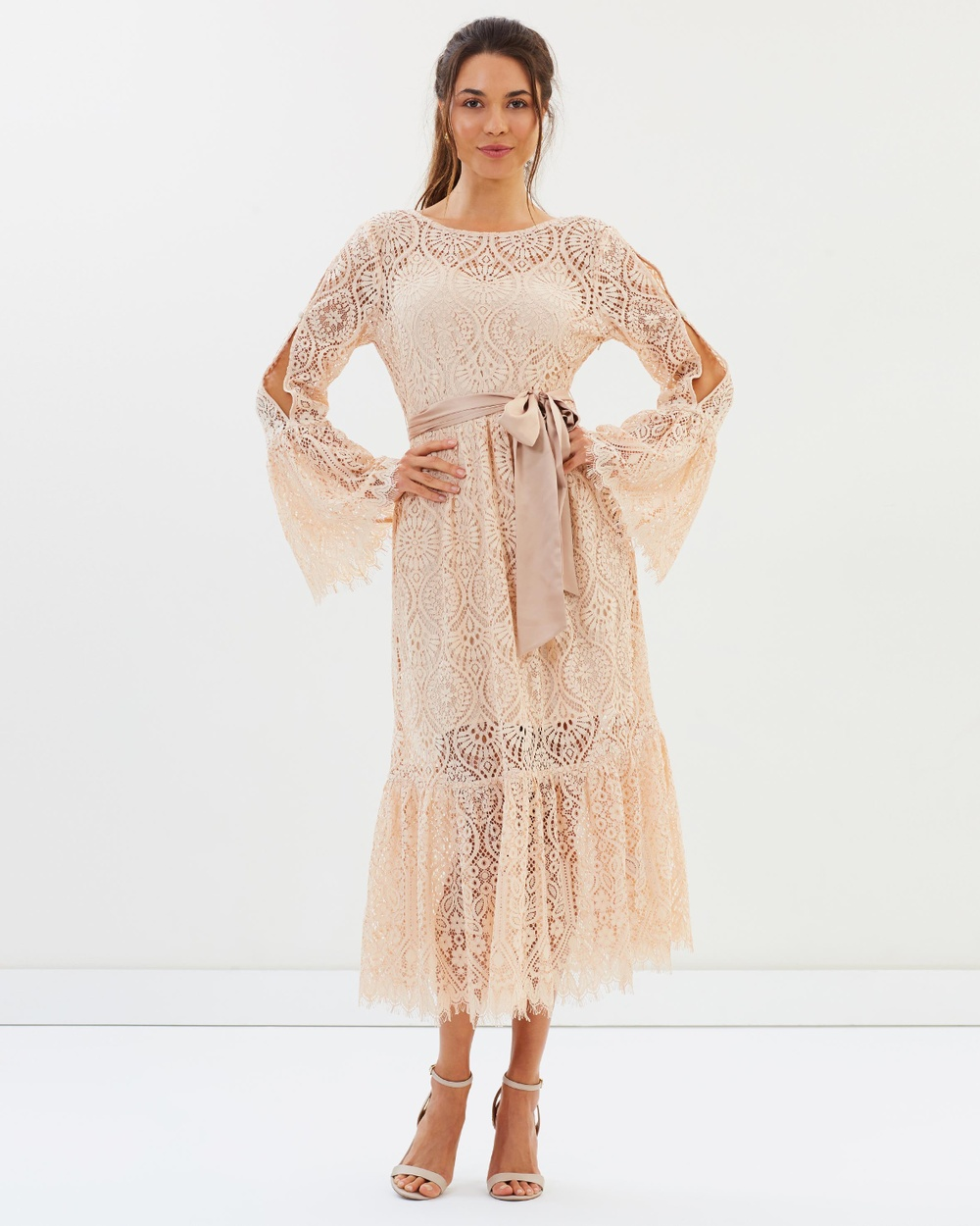 Perseverance Peacock Doily Lace Low Back Midi Dress Bridesmaid Dresses Flesh Pink Peacock Doily Lace Low Back Midi Dress