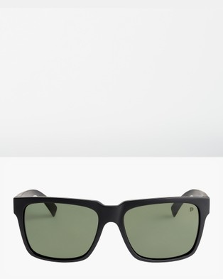 Quiksilver Mens Bruiser Polarised Sunglasses - Sunglasses (MATTE BLACK/ GREEN P)