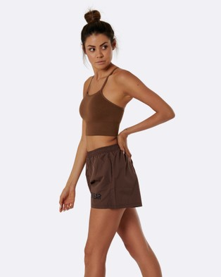 Nicky Kay High Waist Shorts - High-Waisted (Brown)
