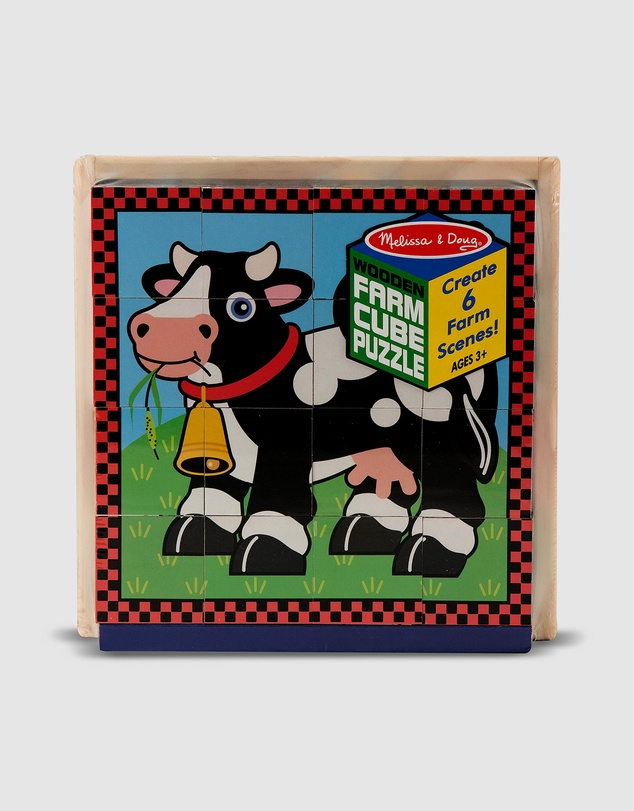 Melissa & Doug - Cube Puzzle - Farm - 16 Pieces
