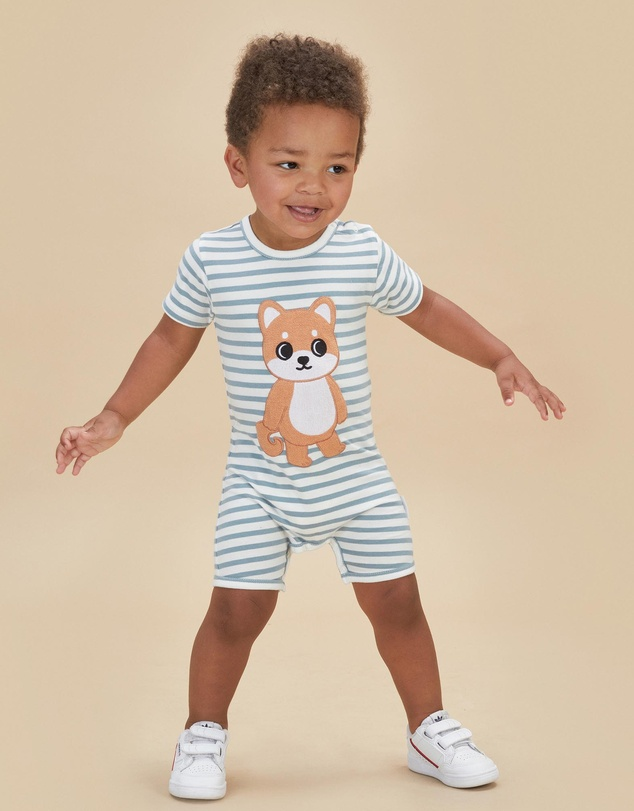 Kids Shiba Stripe Short Romper - Babies