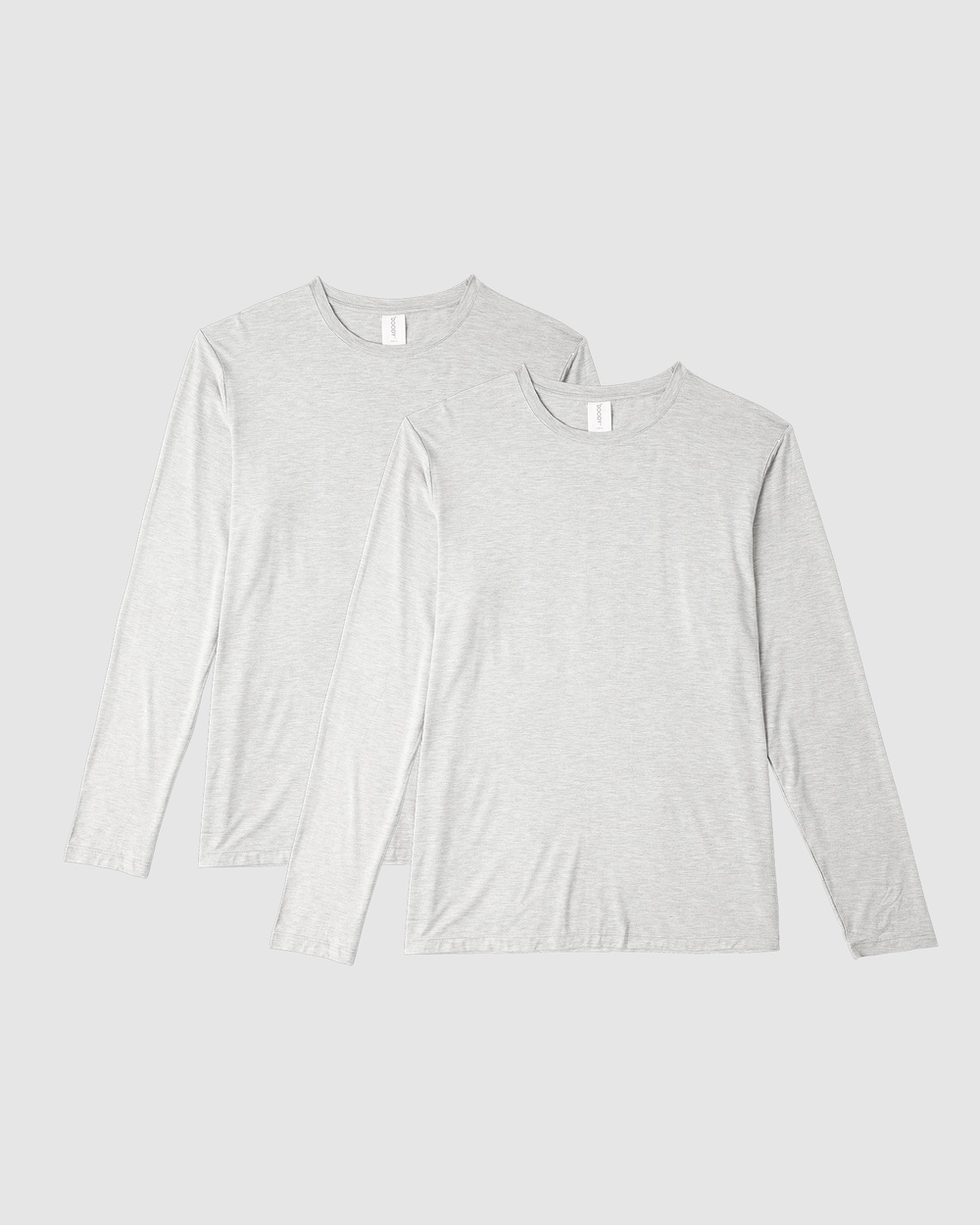 Boody Organic Bamboo Eco Wear - 2 Pack Long Sleeve Crew Neck T Shirt - Long Sleeve T-Shirts (Light Grey Marl) 2 Pack Long Sleeve Crew Neck T-Shirt
