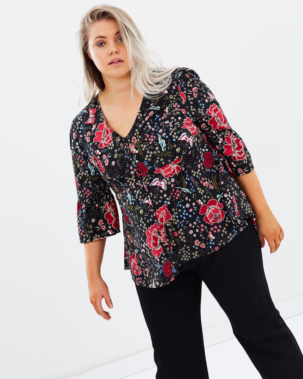 JUNAROSE Flowered 3 4 Sleeved Blouse Tops Black Beauty Flowered 3-4 Sleeved Blouse