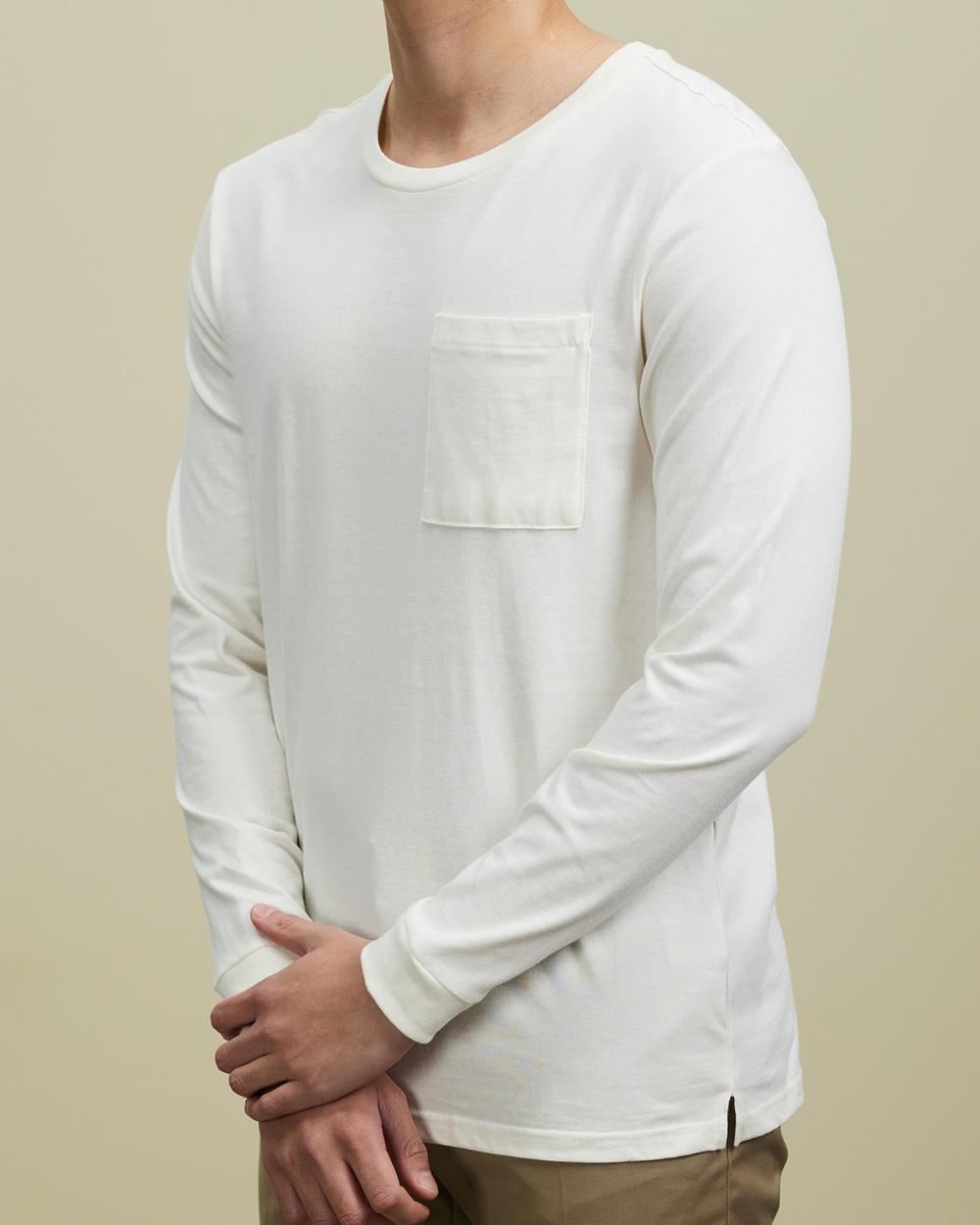 AERE Organic Long Sleeve Pocket Tee T-Shirts & Singlets Off White