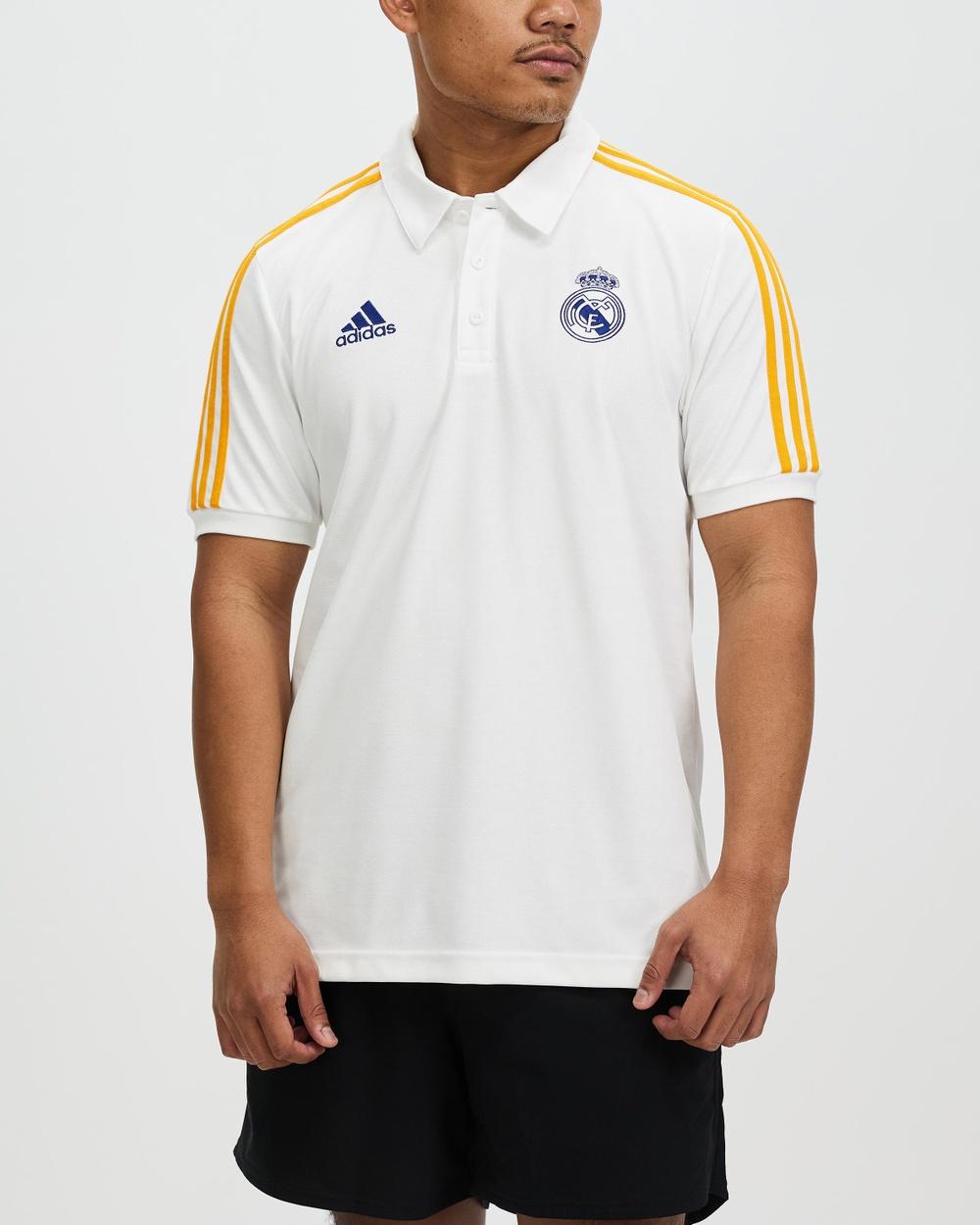 adidas Performance Real Madrid 3 Stripes Polo Shirt Shirts & Polos White, Victory Blue Lucky Orange 3-Stripes