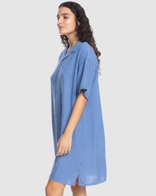 Quiksilver Quiksilver Womens Short Sleeve Shirt Dress - Dresses (STONE WASH)