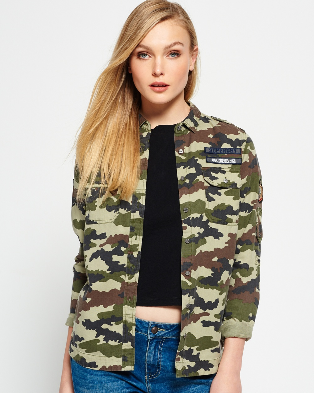 Superdry Military Shirt Tops Cloud Camo Military Shirt
