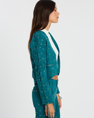 LENNI the label Airborne Jacket - Coats & Jackets (Teal Faux Suede)