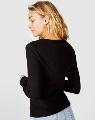 Cotton On - The Turn Back Long Sleeve Top - Tops (Black) The Turn Back Long Sleeve Top