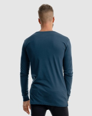 Xander Monarch Embroidery Long Sleeve Tee - T-Shirts & Singlets (BLUE)