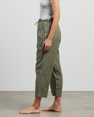 IN BED 100% Linen Pants - Sleepwear (Khaki)
