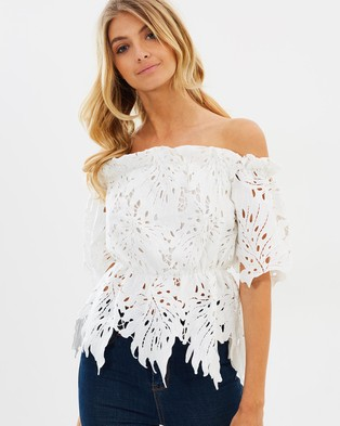 Buy Atmos & Here - Nina Off Shoulder Lace Top White - shop Atmos & Here swimwear online