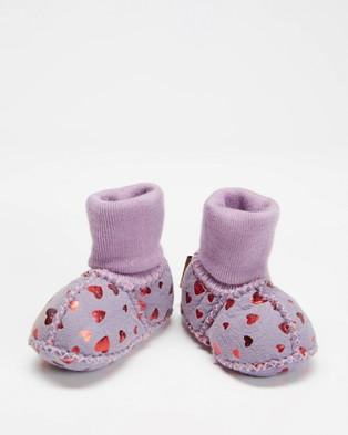 Kip&Co Sheepskin Booties - Socks (Lilac Printed Heart)