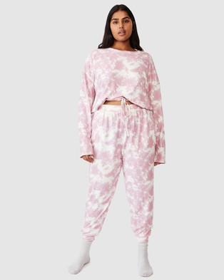 Cotton On Curve Super Soft Draw Cord Crew - Sleepwear (Mellow Mauve Tie Dye)