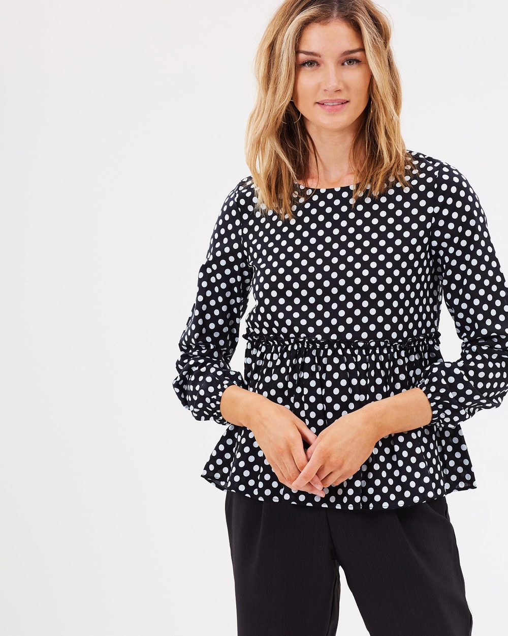 Atmos & Here ICONIC EXCLUSIVE Amy Swing Top Tops Black & White Polkadot ICONIC EXCLUSIVE Amy Swing Top