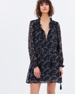 Hansen & Gretel – Star Printed Silk Dress Black Print