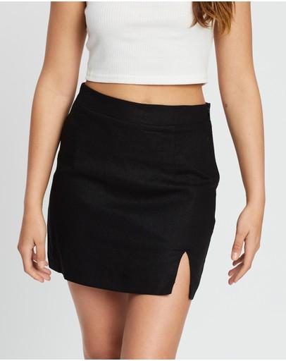 Dazie Speechless Split Mini Skirt Black