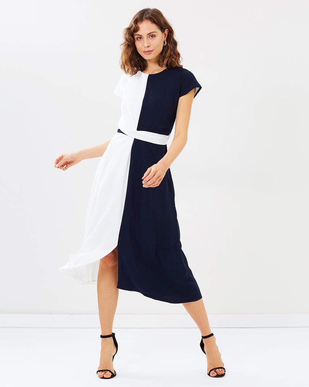 Warehouse Colour Block Twist Front Dress Dresses Navy & White Colour-Block Twist Front Dress