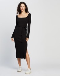 TOPSHOP - Jersey Midi Ribbed Belted Bodycon Midi Dress
