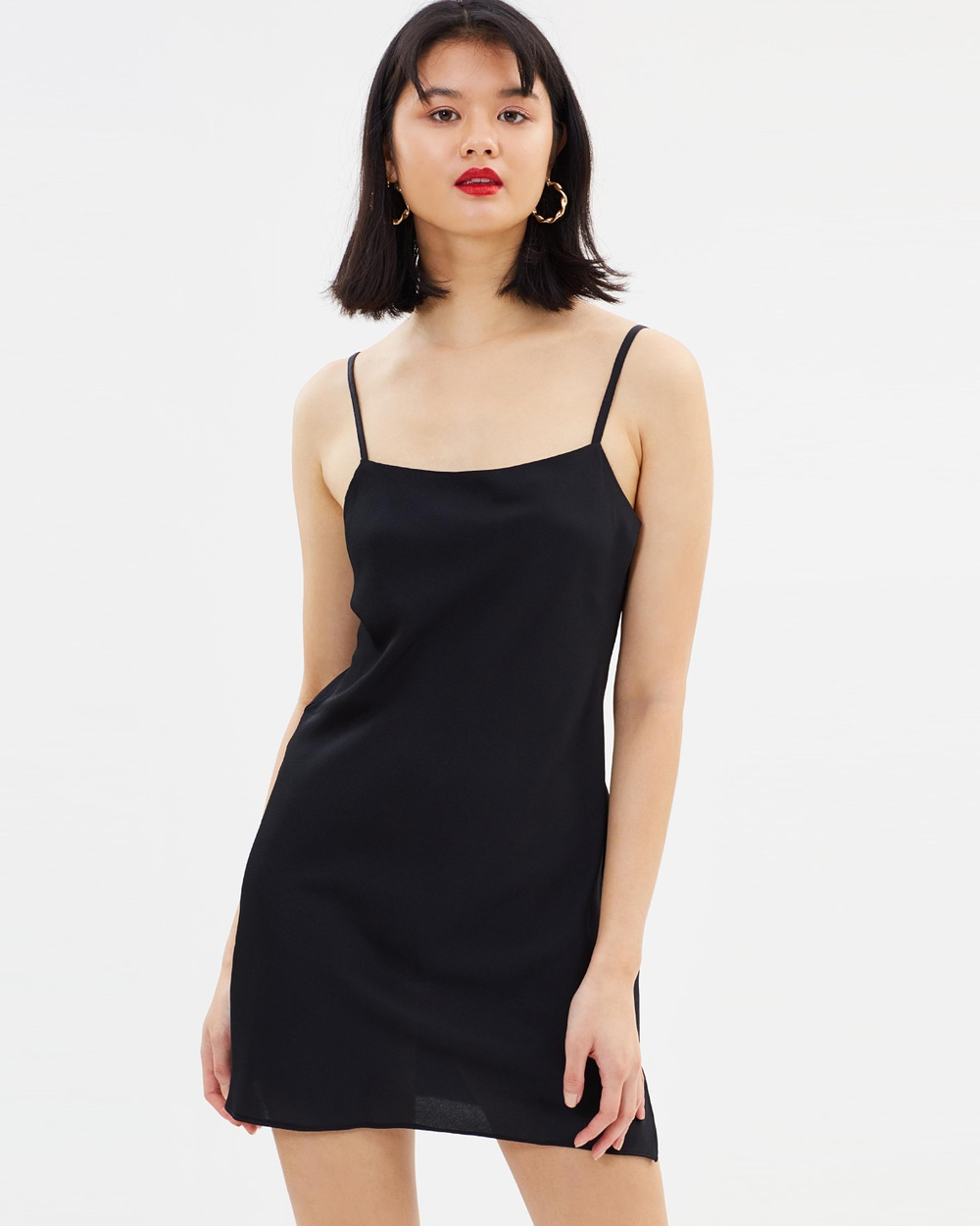 Miss Selfridge Satin Bubble Slip Mini Dress Dresses Black Satin Bubble Slip Mini Dress