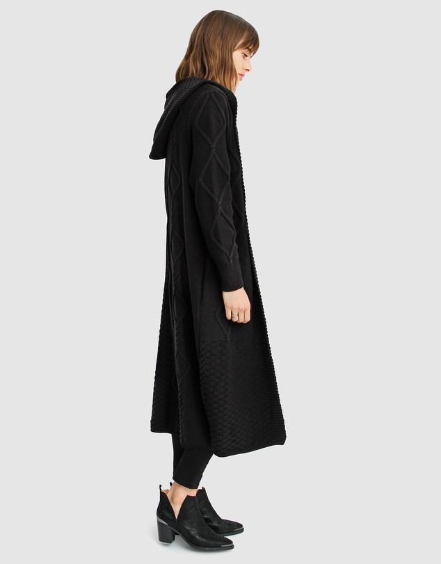 Women Retrograde Hooded Cable Cardigan