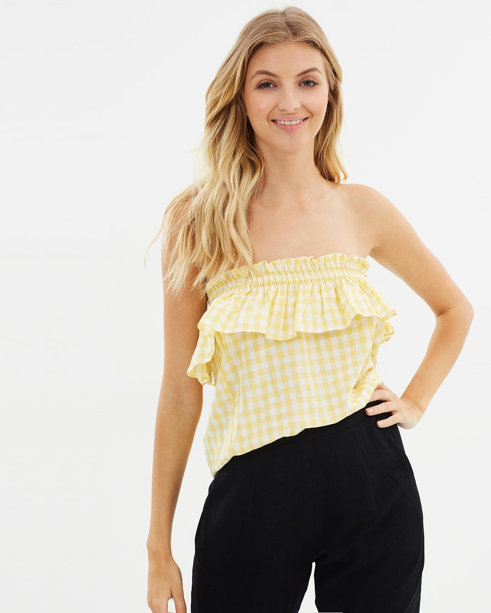 Atmos & Here ICONIC EXCLUSIVE Tanny Strapless Shirred Frill Top Tops White & Yellow Gingham ICONIC EXCLUSIVE Tanny Strapless Shirred Frill Top
