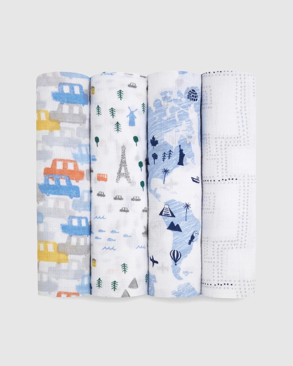 Aden & Anais Essentials 4 Pack Swaddles Wraps Blankets Little Big World 4-Pack