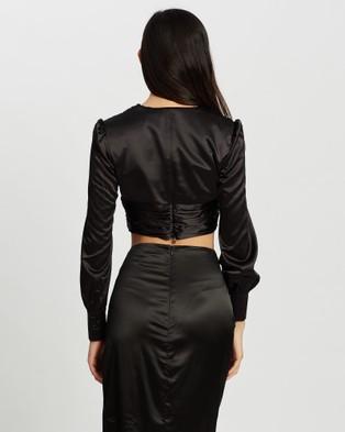KIANNA Amanda Silky Blouse - Cropped tops (Black)
