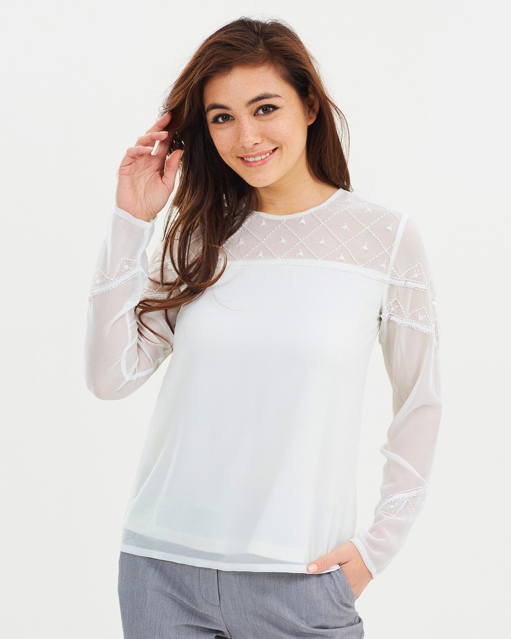 Dorothy Perkins Embellished Long Sleeve Top Tops Ivory Embellished Long Sleeve Top