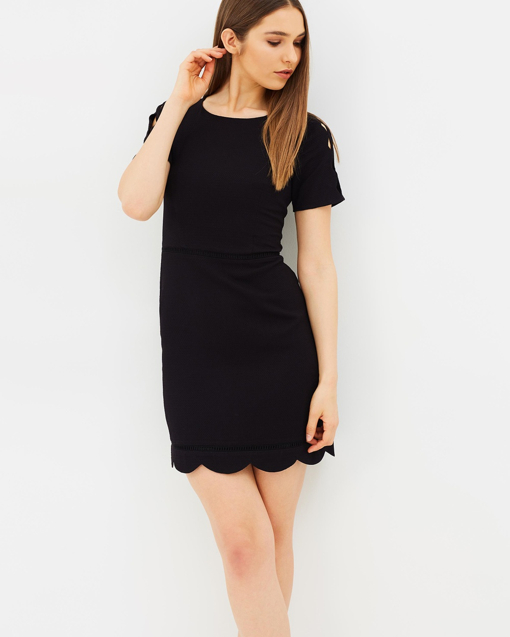 Oasis Scallop Sleeve Dress Dresses Black Scallop Sleeve Dress