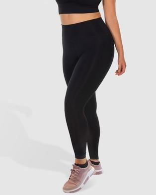 B Free Intimate Apparel Curvy High Waisted Athleisure Leggings - Full Tights (Black)